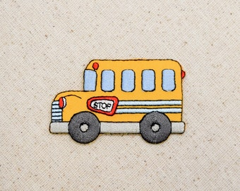 Childrens - Yellow School Bus - Embroidered Patch - Iron on Applique - 156581A