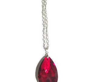 Red Pendant Necklace - Red Teardrop Necklace - Silver Jewelry - Statement Necklace