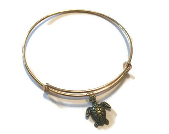 Turtle Charm Bracelet - Turtle Charm Bangle - Turtle Bangle - Gold Adjustable Bangle Bracelet - Turtle Jewelry - Stacking Bangles