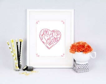 You are SO loved, pink, Hand drawn, printable, ombre pink, nursery printable, nursery printable art, pink nursery art, pink you are loved