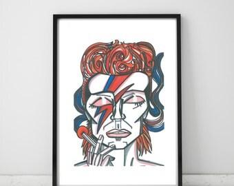David Bowie Aladdin Sane Illustration Print