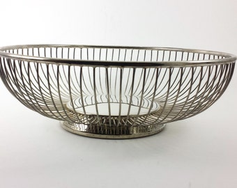 Vintage Leonard Silverplate Wire Bowl Round