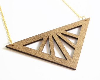 Triangle Necklace - Geometric Necklace - Laser Cut Necklace - Wood Necklace