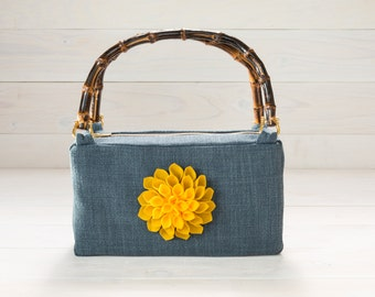 Blue Purse with Yellow Dahlia Felt Flower and Bamboo Handles