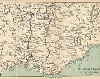 1905 Provence France, French Riviera Antique Map