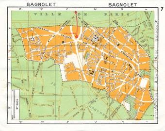 1977 Paris France Vintage Neighborhood Map, Bagnolet