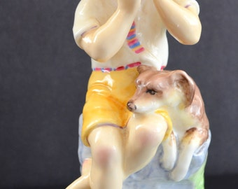 Vintage Statue Child Royal Worcester Figurine Months of Year June 3456 Freda Doughty Artist Design Boy with Dog