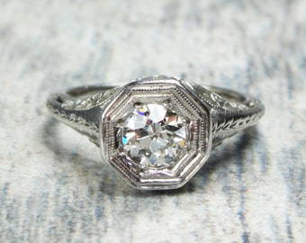 Antique 14k Gold Diamond Ring Antique Diamond Filigree Ring Old European Cut Diamond Engagement Ring Circa 1930 .60 Carat Solitaire Ring