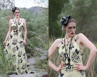 RARE 1930s Silk Dress / 1930s Floral Print Gown / 30s Dress