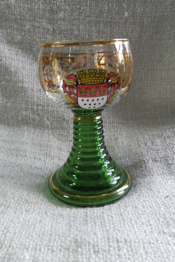 Green Stemmed Roemer German Wine Glass, Koln Coat of Arms