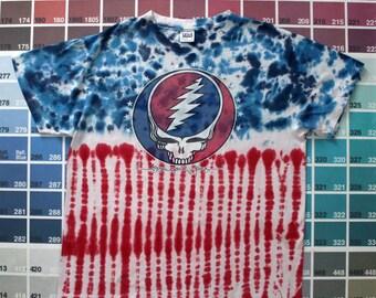 Vintage Grateful Dead shirt | 1980s tour tee men L | steal your face | concert t-shirt women XL | Grateful Dead tie dye | 1988 skull graphic