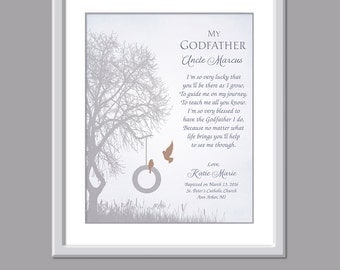 Godfather Gift - Gift For Godfather - Godfather Print - Baptism Gift For Godfather - Godfather Poem - Godfather Verse  Christening Godfather