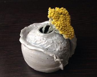 """Light Gray """"Slip"""" Flower Bud Vase"""