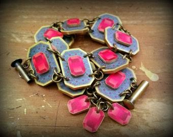 Gemstone Bracelet - Chunky Gemstone Bracelet - Fake Gemstones - Queen of Hearts - Cuff Bracelet - Link Bracelet - Shrink Plastic Bracelet