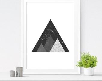 Grey Geometric Wall Art, Mountain Print, Triangle Art, Mountain Art, Geometric Print, Mountain Wall Art, Geometric Printable, Wall Decor