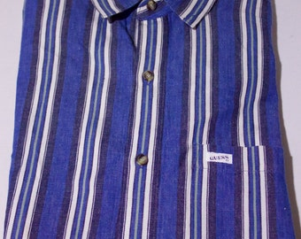 90s GUESS Blue-White Vertical Striped Color Blocking Button Front Shirt Size Large