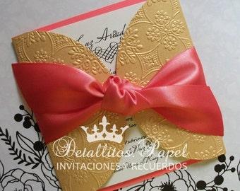 Quinceanera Invitation, Wedding Invitation, sweet 16 invitation, Gatefold Invitations, Handmade Invitations 50