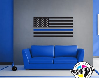 Thin Blue Line - Police Flag - Wall Decal - Display Vertical or Horizontal - Wall Decor, Wall Art, Easy Applicaion (Removable)
