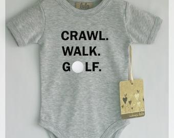 Crawl walk golf baby bodysuit. Cute and modern baby clothes.