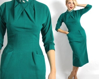 Vintage 50s Emerald Green Wool Wiggle Dress, Small