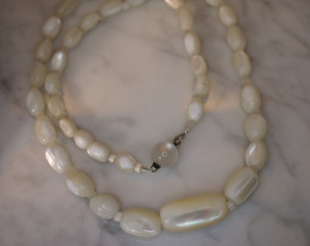 Mother of Pearl and Fiber Optic Glass Bead Necklace