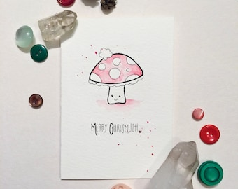 Merry Chrismush Holiday Watercolor   Greeting Cards