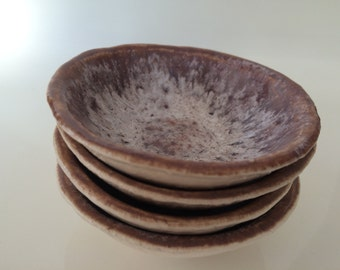 Set of hand built pottery prep/dip bowls