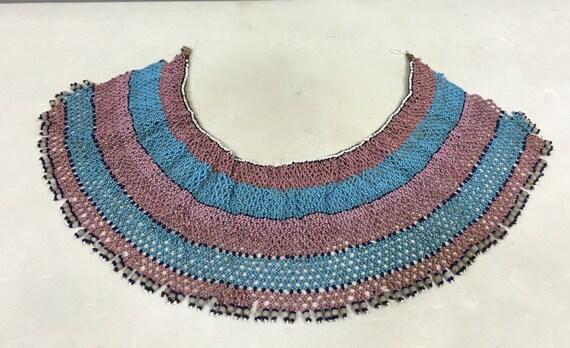 African Collar Xhosa Beaded Pink Blue Collar Handmade Necklace Jewelry Pink Blue Beads Ceremonies  Men Women Purity Collar
