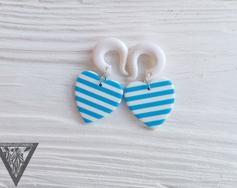 "Striped heart dangling ear hangers,gauges ear tunnel,size 4,5,6,8,10,12,14,16,18,20 mm,6g,4g,2g,0g,00g,3/16,1/4,1/2,5/16,9/16,5/8,3/4,7/8"""