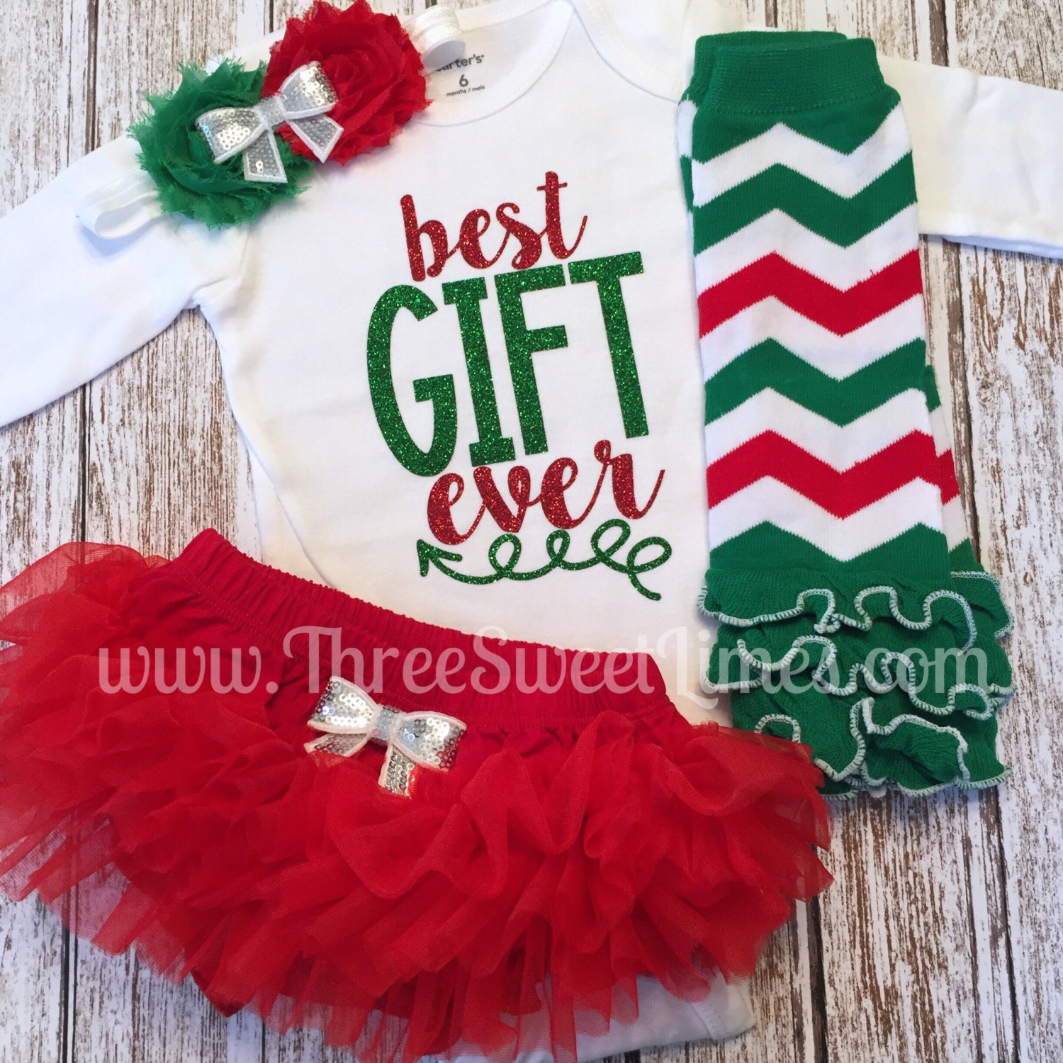 Good Baby Christmas Gifts: Baby Girl Christmas Outfit Best Gift Ever By ThreeSweetLimes