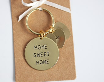 Home Sweet Home Keyring. Hand Stamped, New Home Gift