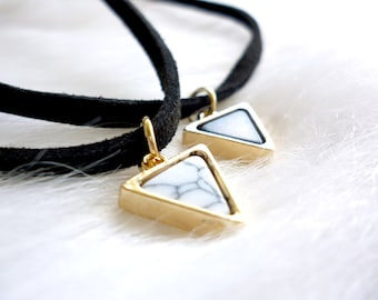 Black Choker with Triangle Marble Pendant - Black Choker - Suede Choker - Suede Choker Necklace