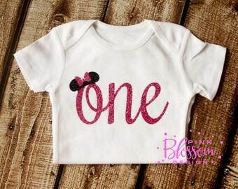 Mouse Birthday, First Birthday Onesie, First Birthday Shirt, 1st Birthday, Hot Pink Glitter, Birthday Shirt