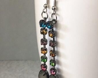 Rainbow dangle earrings, drop earrings, black drop earrings, black earrings, beaded earrings, black bead earrings