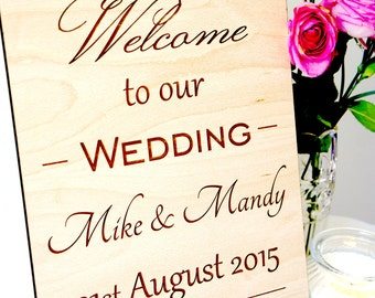 Personalised welcome to our wedding sign, wooden wedding sign, wedding plaque, various sizes