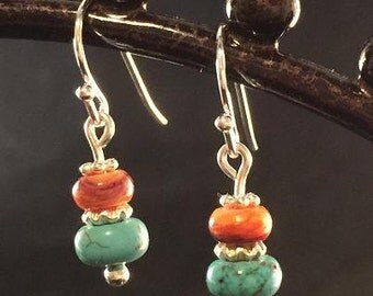 Lion's Paw Shell with Turquoise earrings