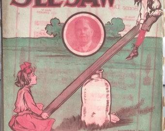 On the Old See-Saw, Vintage Sheet Music, Gus Edwards, Vaudeville, The Rube Kids, Paper Ephemera, Piano Music, Children, Playground