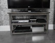 Media Unit,  TV Stand, Media Console Unit, Handmade, Media Storage Table with  2 Shelves, TV Media Storage Unit, Table with Storage Shelves,