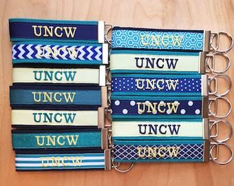 UNCW Key Fob -  UNCW Keychain - UNCW Wristlet - University of North Carolina at Wilmington - Teal -Seahawk - Graduation