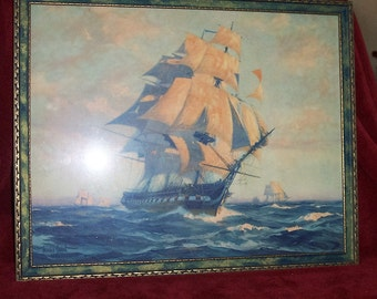 "1927 Signed Original Lithograph of 1700's Ship ""Old Ironsides"" the U. S. Frigate Constitution with Frame signed 1927 GORDON GRANT"