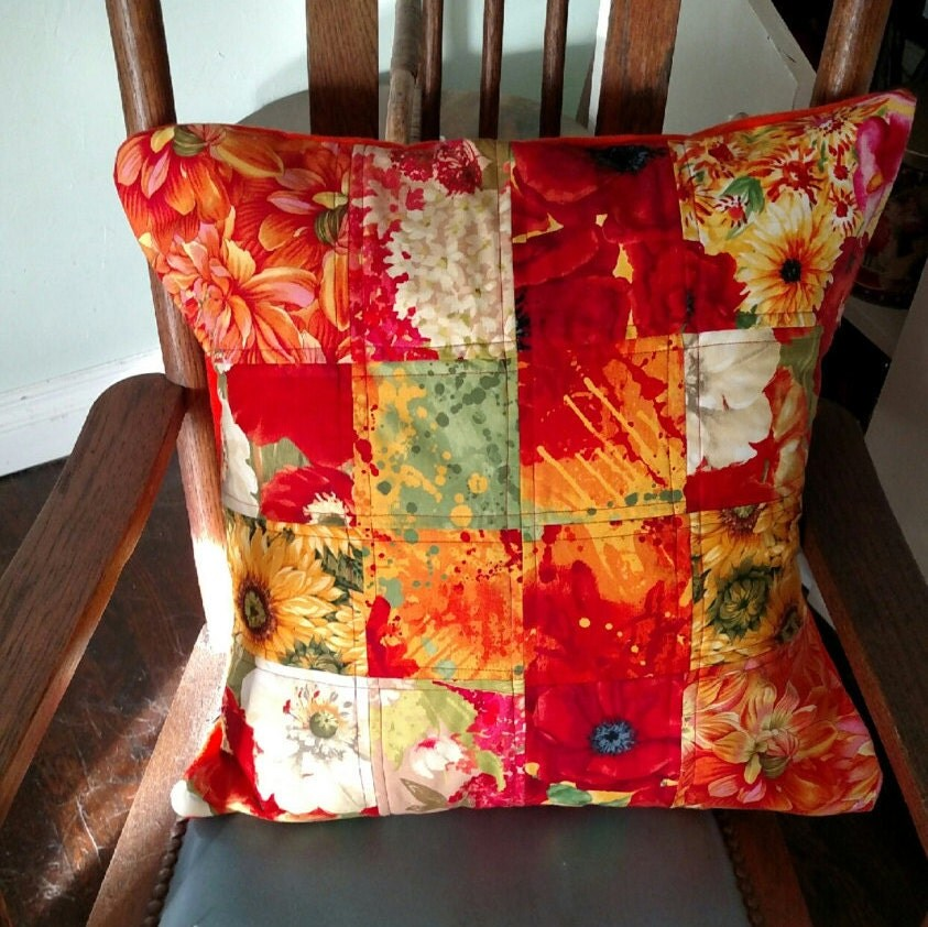 Boho Style Throw Pillows : Quilted Pillow Orange Floral Boho Chic Decorative Pillow