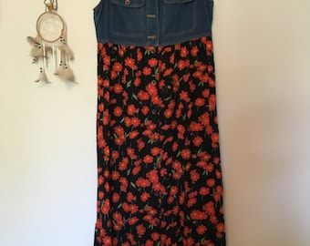 90s denim and floral dress // size 4