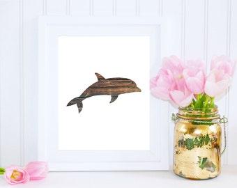 Dolphin Print, Beach Home Decor, Wood Beach Art, Wood Print, Nautical Art, Dolphin Download, Ocean Nursery Printable, Wooden Dolphin