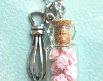 meringue jar necklace- miniature food jewelry