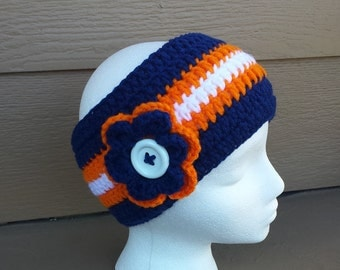 Broncos Crochet, Crochet headband, adults headband, ear warmer headband, kids ear warmer crochet headband, crochet, handmade
