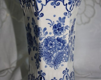 Antique Porceleyne Fles Delft Hexagonal Vase - Dated 1880