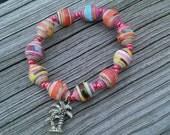 Paper Bead Bracelet, Palm Tree Charm, Paper Bead Jewelry, Palm Tree Bracelet, Paper Jewelry, Tropical Bracelet, Tropical Charm Bracelet