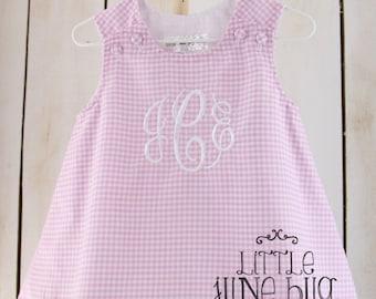 Monogram Gingham A-Line Dress, Little Girl/Baby Gingham Dress, Monogram Dress, Girly Gingham A-Line Dress