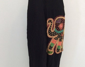 Harem Jumpsuit with Elephant patterned Embroidery (JS-422)