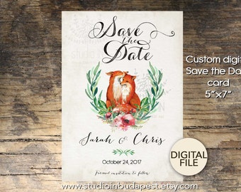 Save The Date Card, Printable Save the date card, Fox wedding card, woodland save the date card, fox card, DIY wedding card,